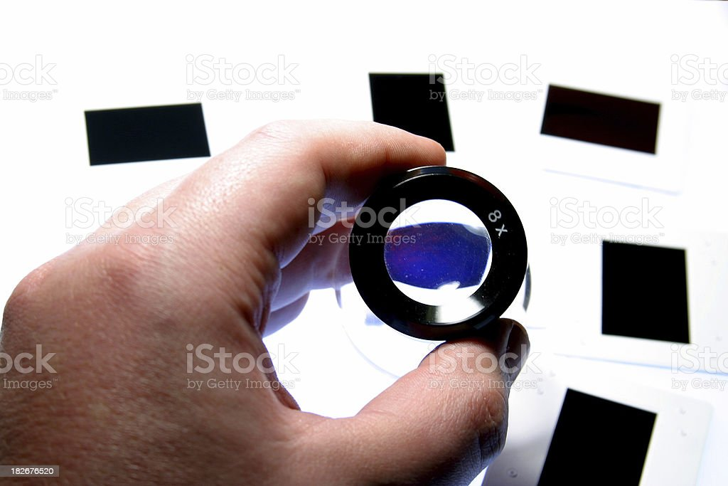 Magnifying Loupe and Slides royalty-free stock photo