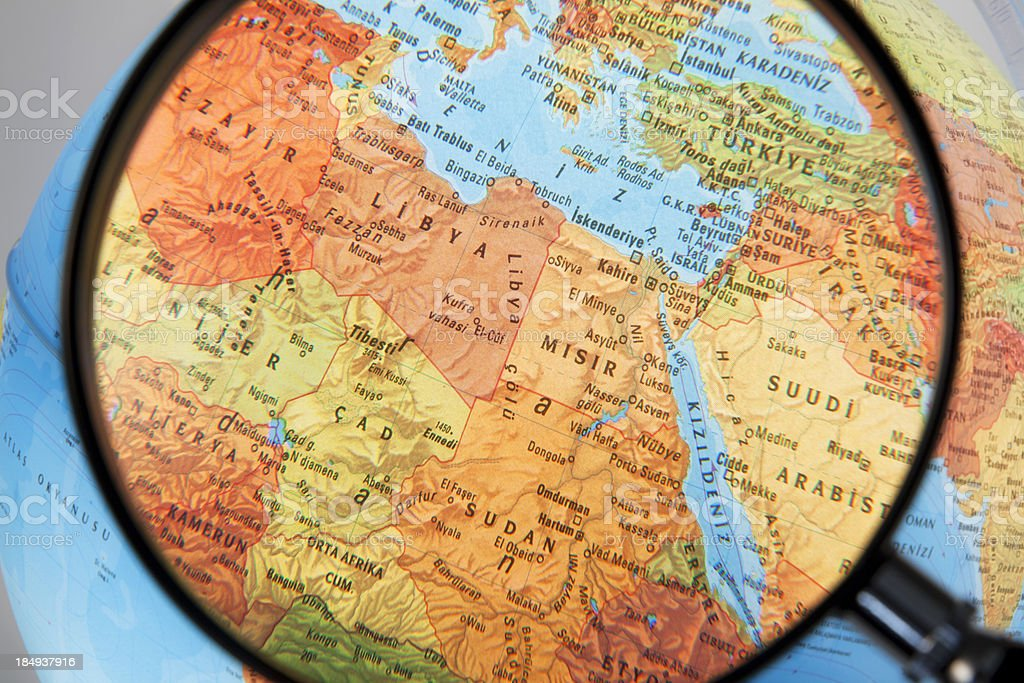 Magnifying North Africa and Middle East stock photo