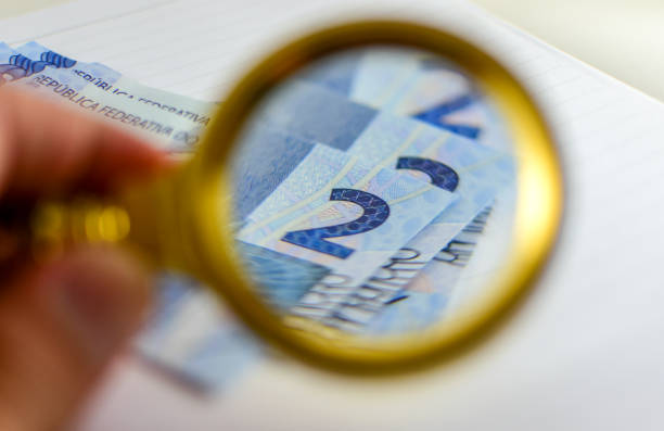 magnifying  note stock photo
