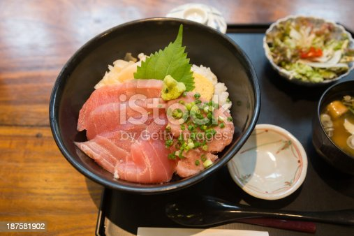 Maguro Don in Japan (Japanese rice with maguro tuna)