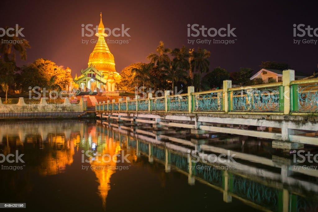 Maha Wizaya Paya, near the Shwedagon Paya, Yangoon, Myanmar. stock photo