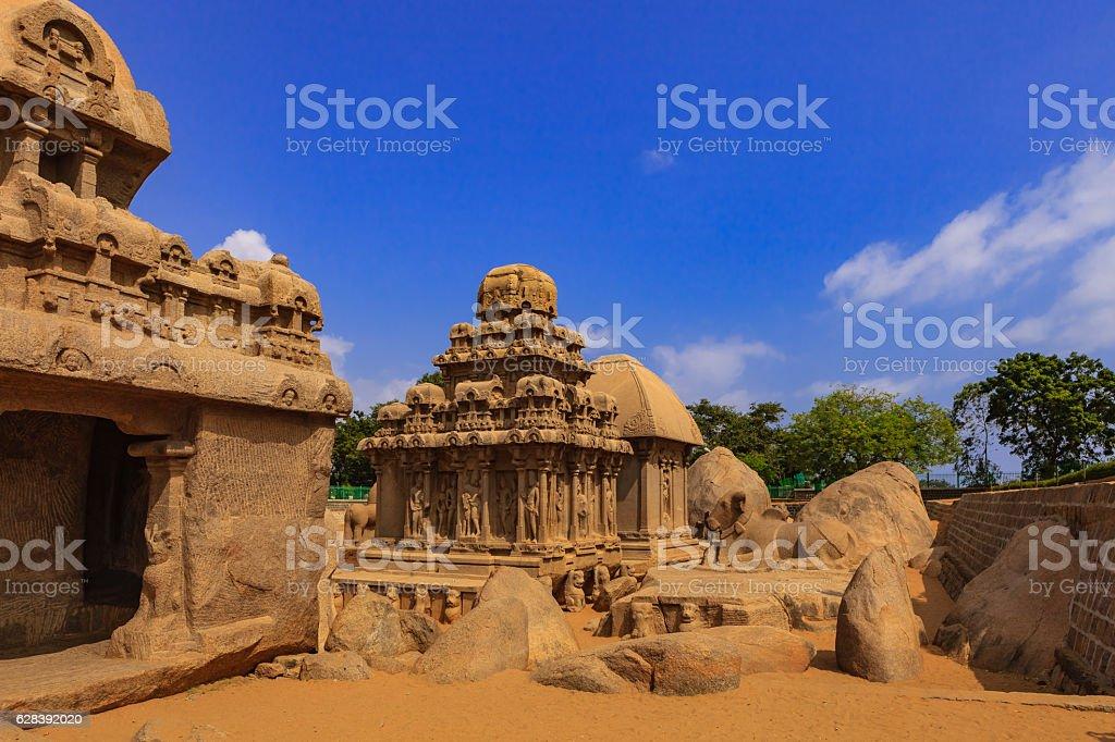 Mahabalipuram, India: 1300 Year Old Pancha Rathas, sculpted in Granite stock photo