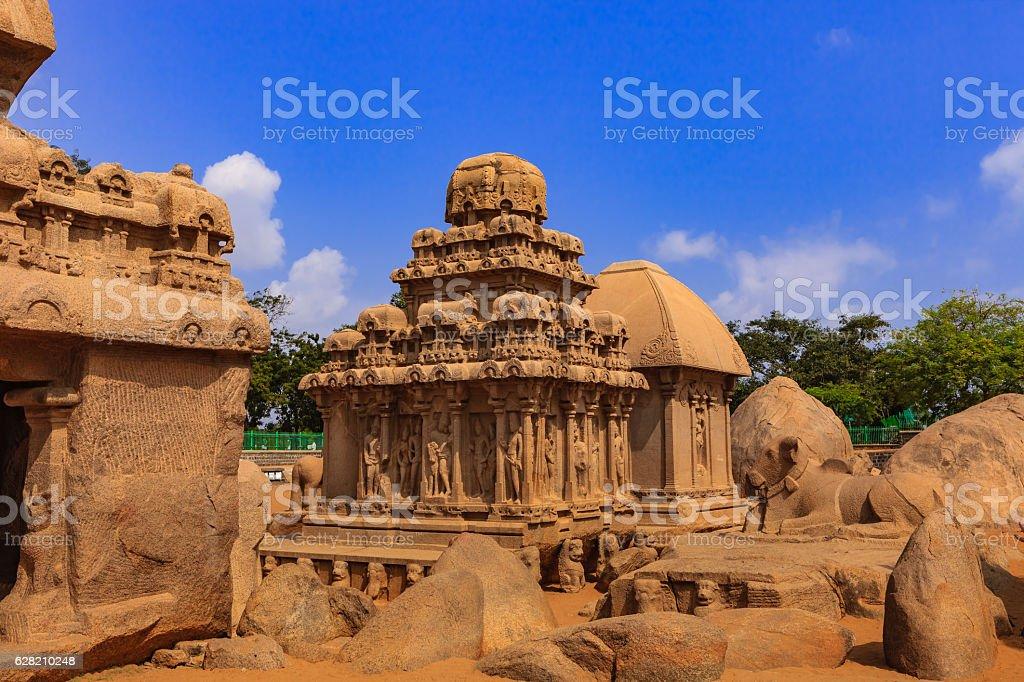 Mahabalipuram, India: 7th Century Arjuna, Draupadi Rathas, sculpted in Granite stock photo