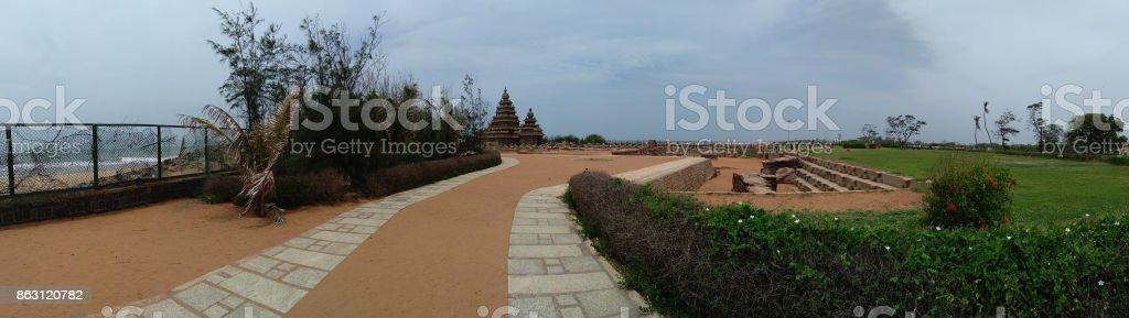 Mahabalipuram Panroama of Seashore Temple stock photo