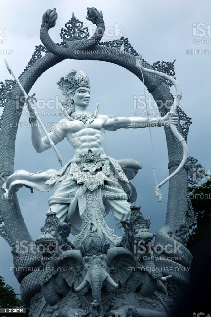 Mahabharata image is Arjuna. This is a statue in the city of Ubud. Bali , Indonesia stock photo