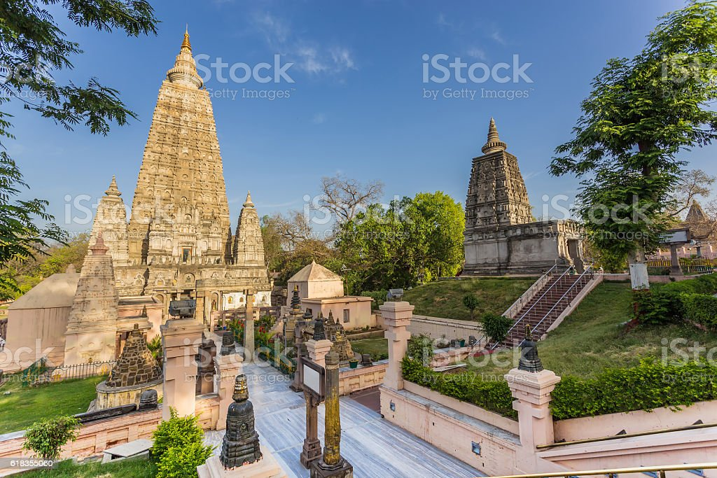 Mahabodhi temple, bodh gaya, India. stock photo