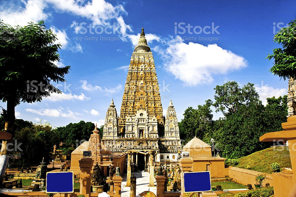 Mahabodhi temple, bodh gaya, India. The site where Gautam Buddha royalty-free stock photo