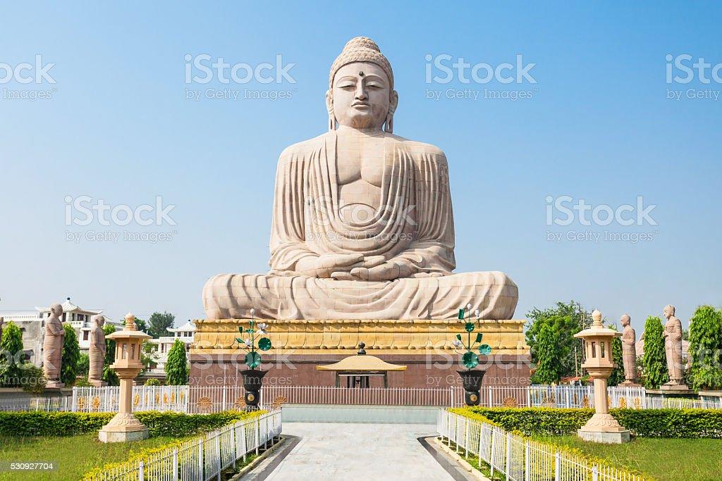 Mahabodhi Temple, Bodhgaya Great Buddha Statue near Mahabodhi Temple in Bodh Gaia, Bihar state of India Asia Stock Photo