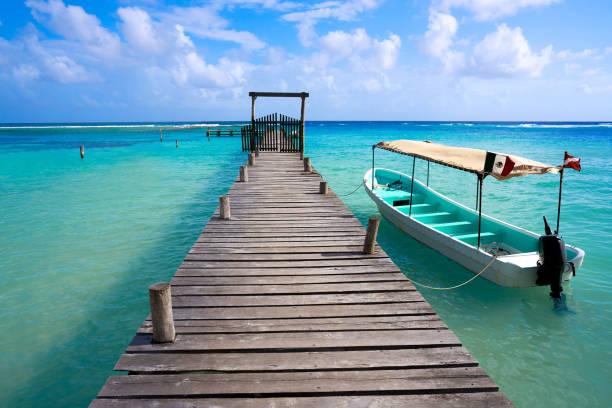 Mahahual Caribbean beach in Costa Maya stock photo