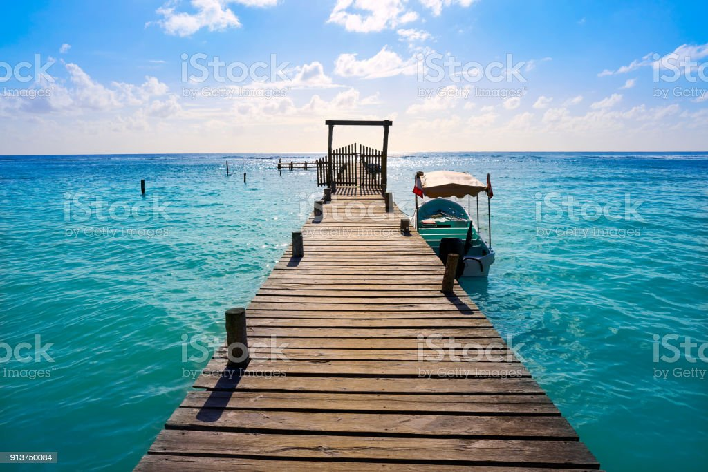 Mahahual Caribbean beach in Costa Maya stock photo