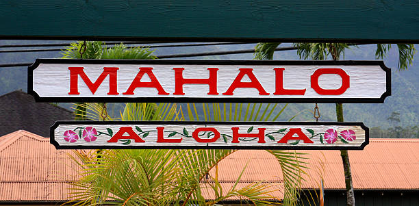 Mahalo, aloha Hawaii greeting sign stock photo