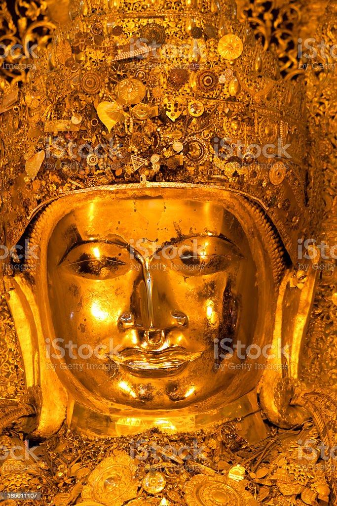 MahaMuni Paya - Golden Buddha image in Myanmar royalty-free stock photo