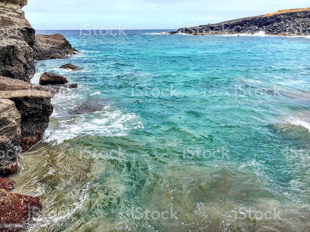 Mahana Bay water stock photo