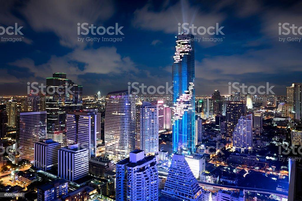 MahaNakhon tower and skyscraper stock photo