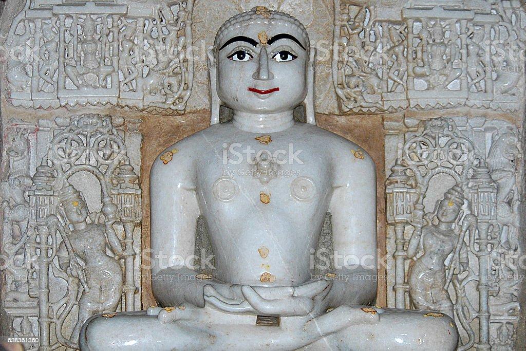 Mahavira at the Jain temple of Jaisalmer. stock photo