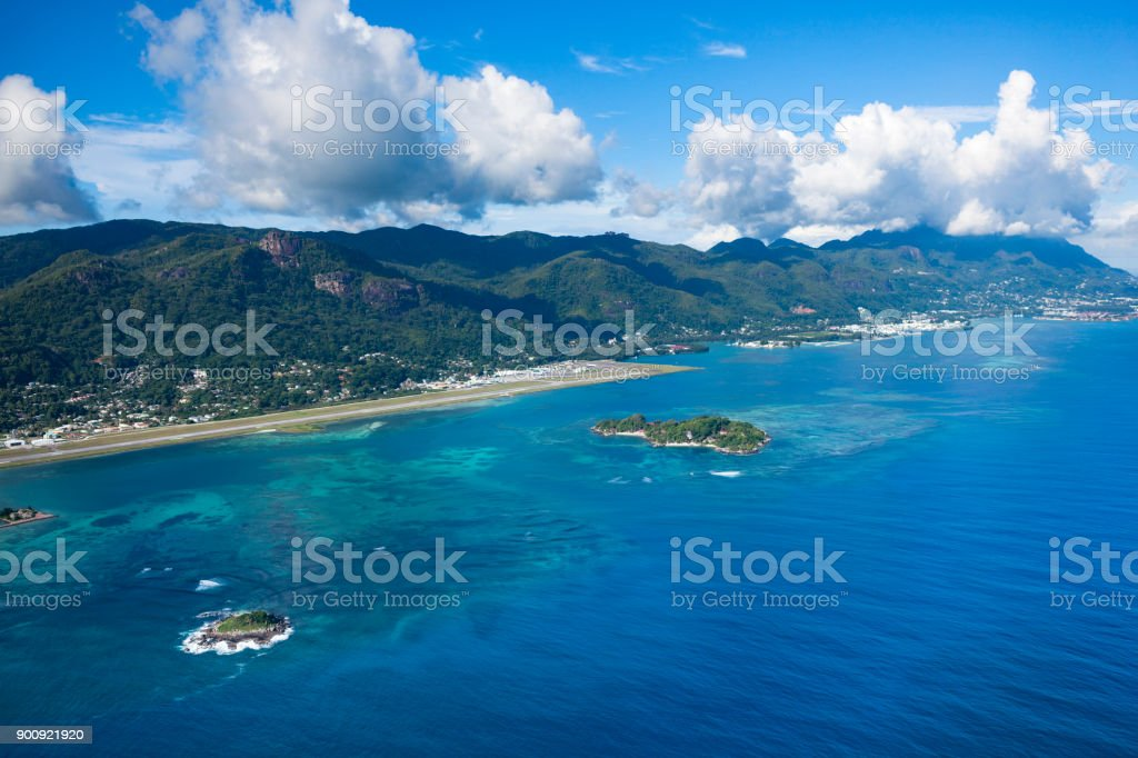 mahe island, aerial view, seychelles islands stock photo