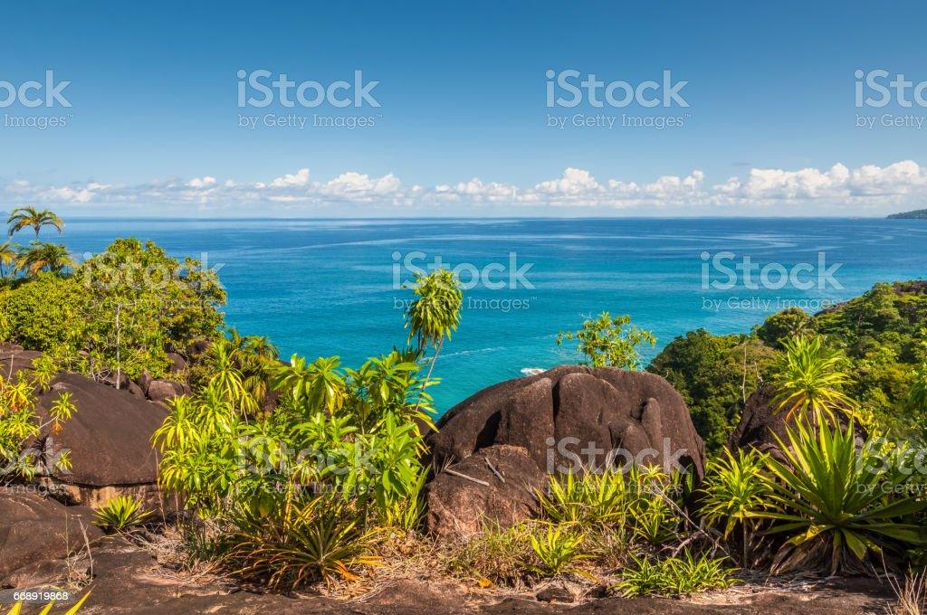 Mahe island coastline view, Seychelles stock photo