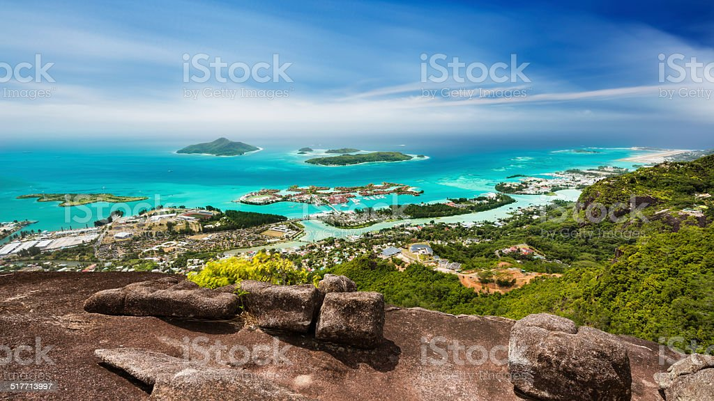 Mahe Long Exposure View, Seychelles stock photo