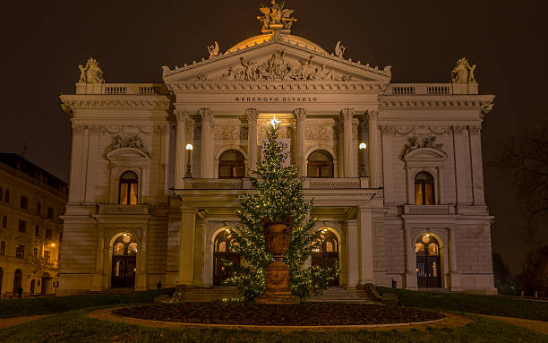 Mahen Theatre in Brno at night before Christmas, front view stock photo