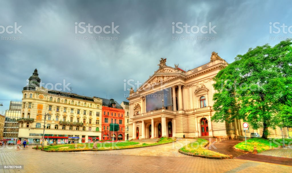 Mahen Theatre in Brno, Czech Republic stock photo