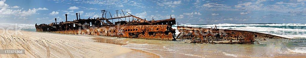 Maheno wreck panorama royalty-free stock photo