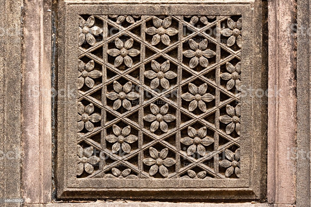 Maheshwar Temple architecture details from India stock photo