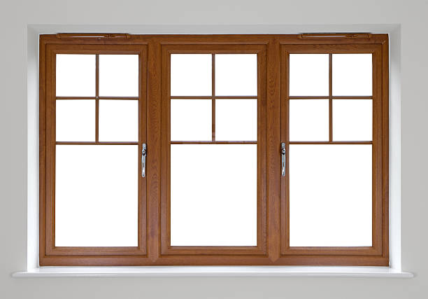 mahogany double glazed windows - deign stock pictures, royalty-free photos & images