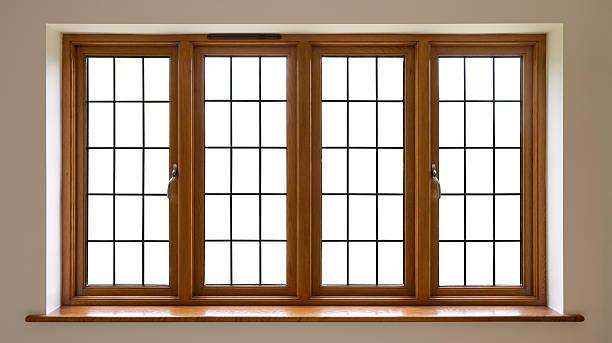 Mahogany leaded glass windows stock photo