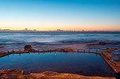 Dawn view of Mahon Pool at Maroubra Beach, Sydney, Australia.