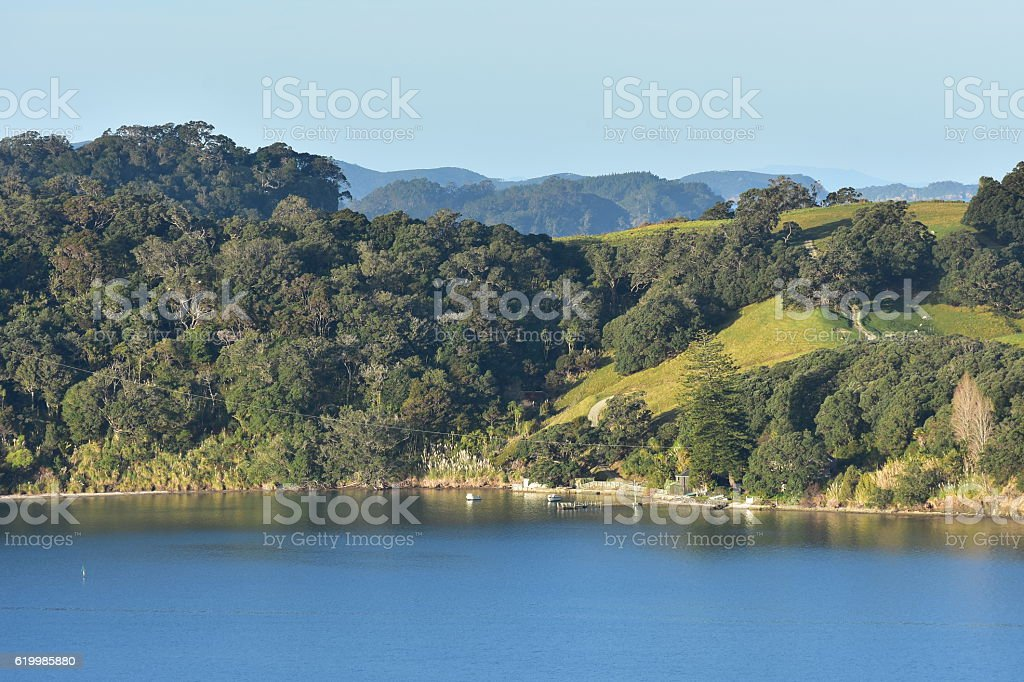 Mahurangi harbour view stock photo