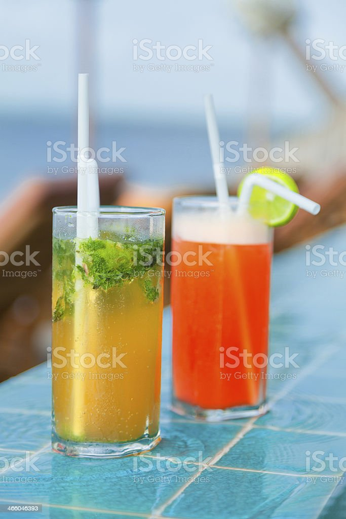 Mai Thai and Mojito Cocktails at the pool royalty-free stock photo
