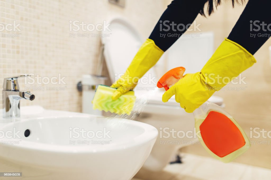 Maid cleans the bidet with a cleaning spray - Royalty-free Adult Stock Photo