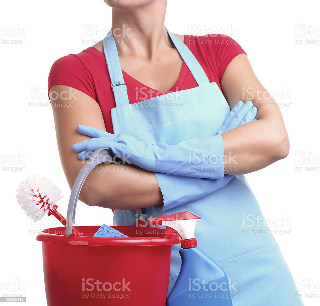Maid holding cleaning bucket Isolated on White Background royalty-free stock photo