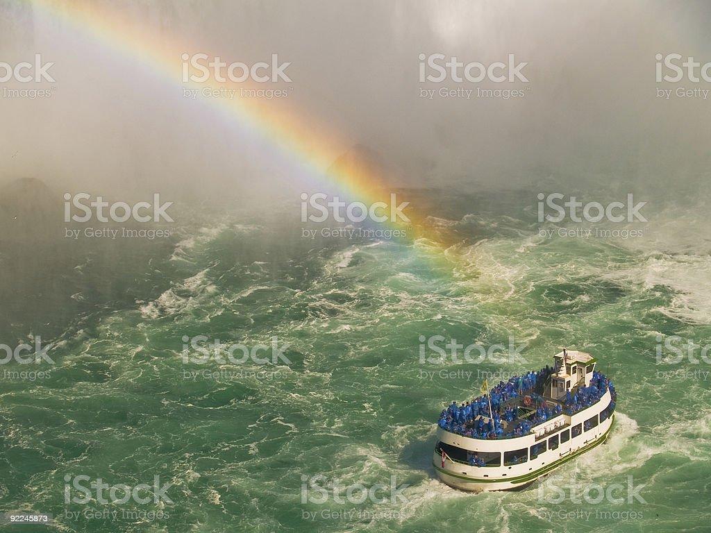 Ausflugsboot Maid of the Mist Tour Boat unter einem Regenbogen – Foto