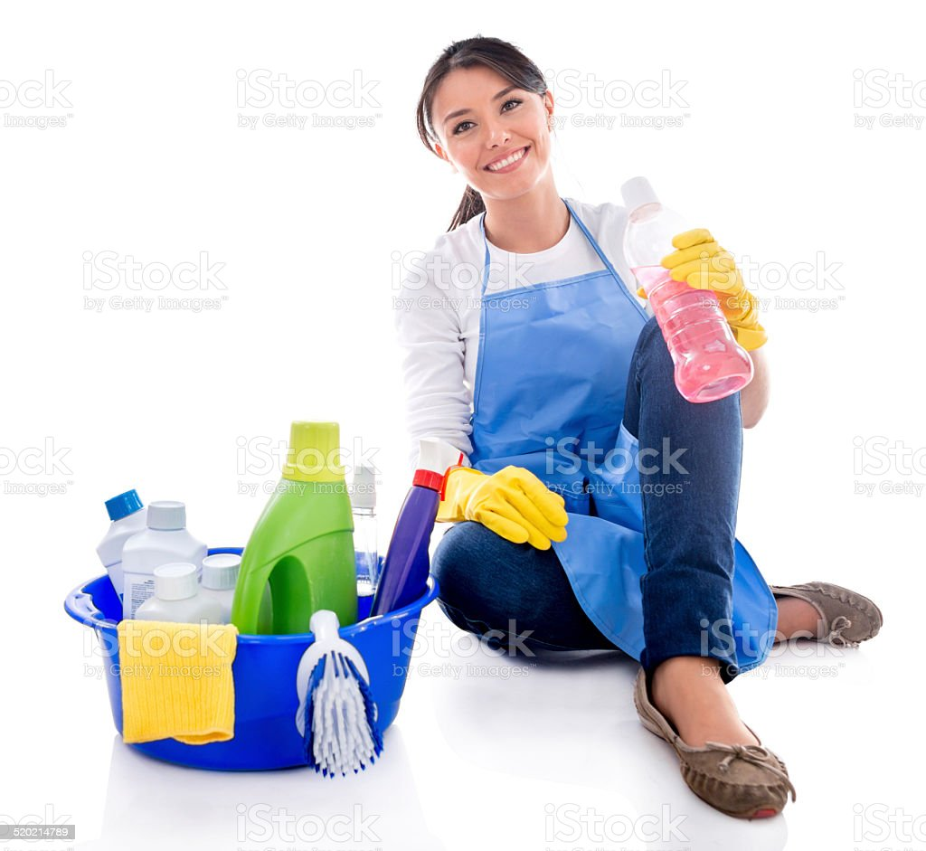 Maid with cleaning products stock photo