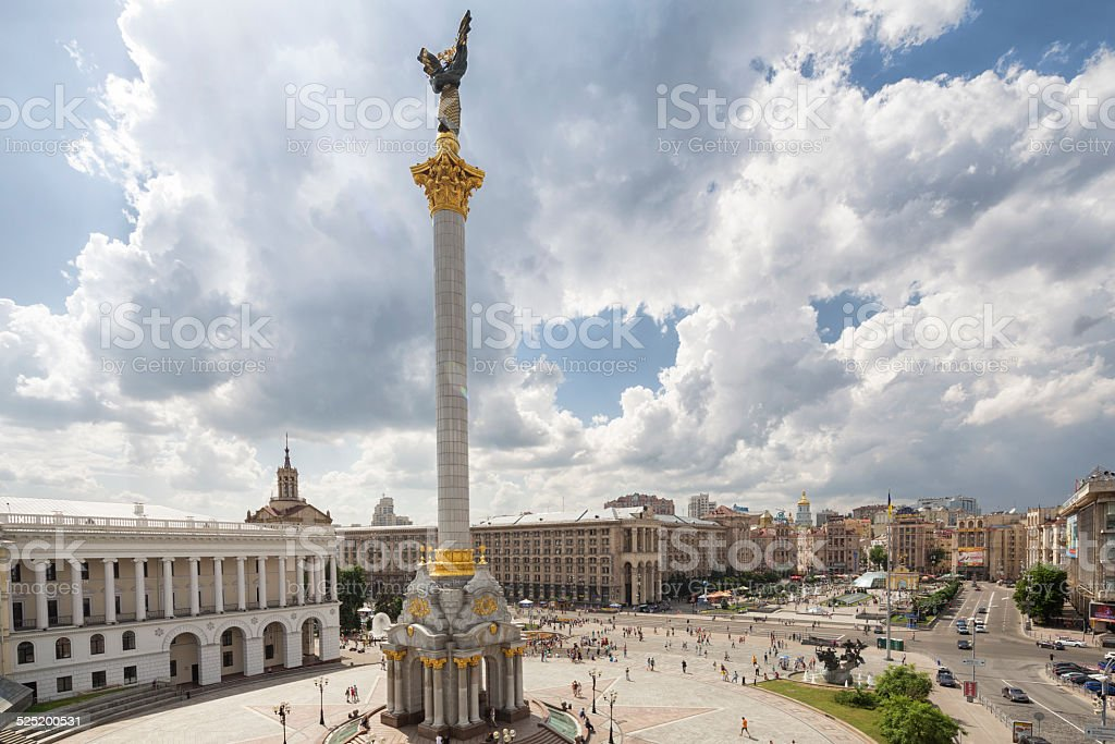 Maidan Nezalezhnosti, Kiev Cityscape, Ukraine stock photo
