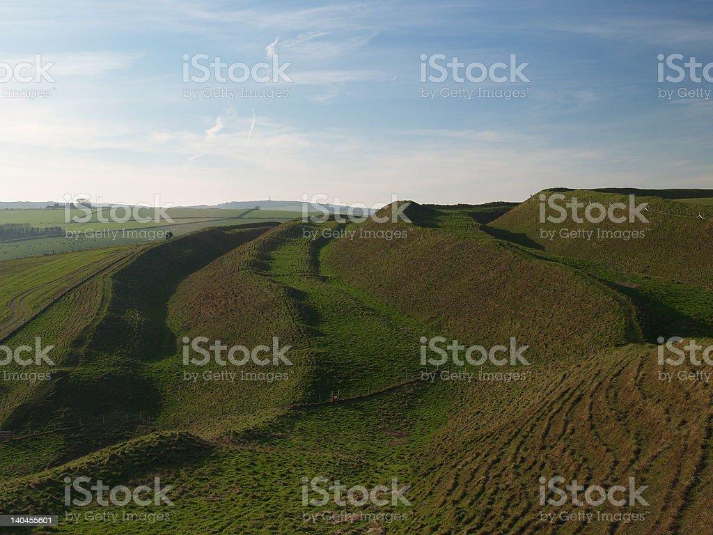 Maiden Castle, Dorset The Iron age Hillfort Maiden Castle, Dorset. the largest in Europe.         Archaeology Stock Photo