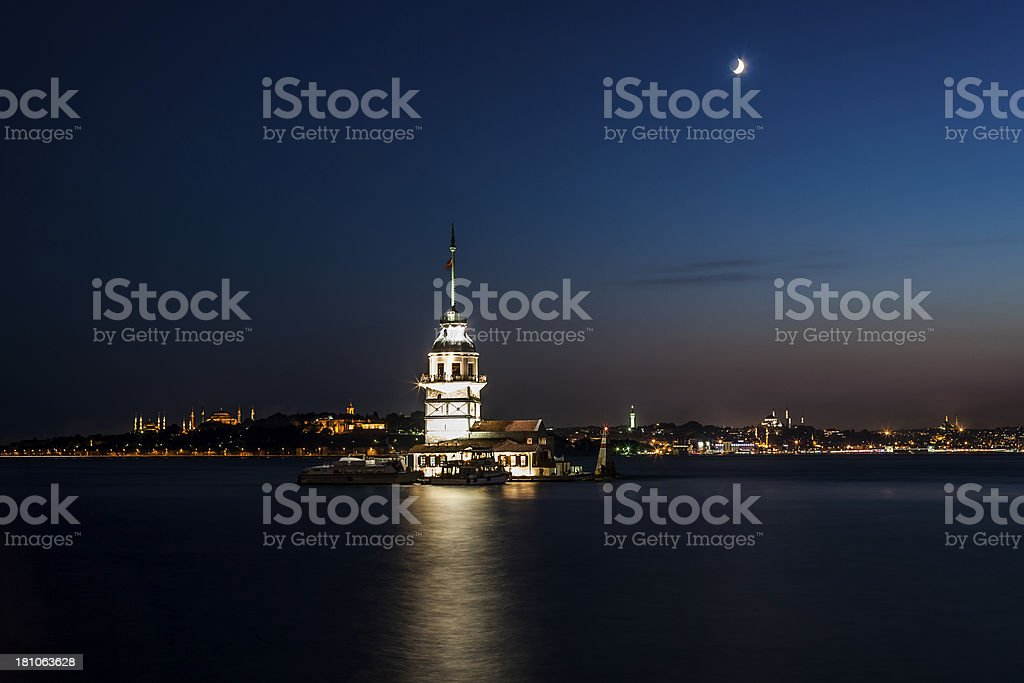 Maiden Tower at night royalty-free stock photo