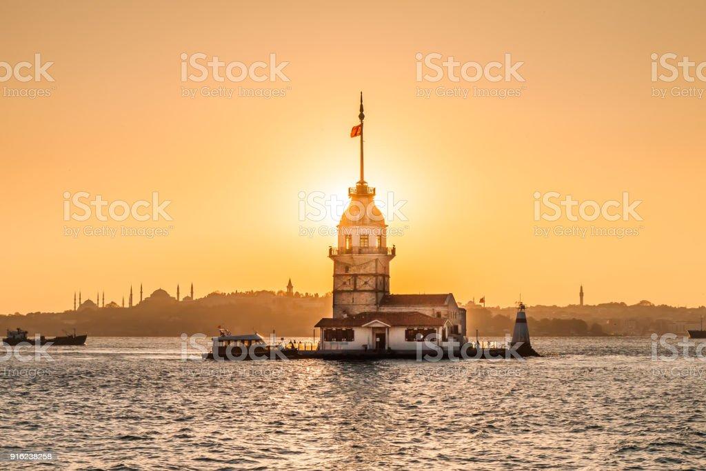 Maiden Tower or Kiz Kulesi Istanbul, Turkey stock photo