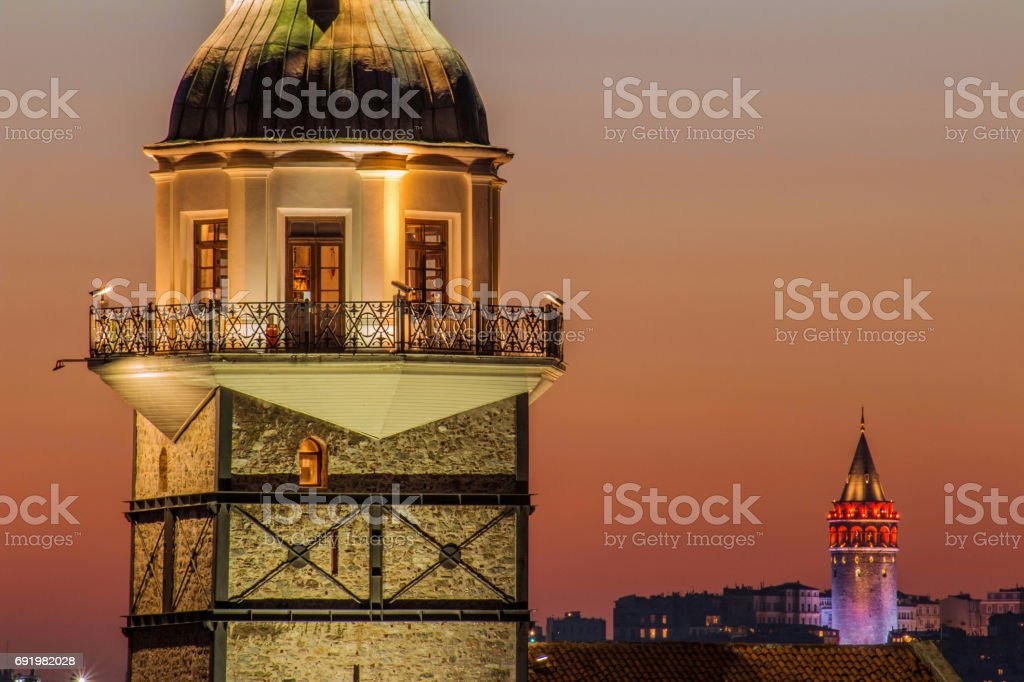 Maiden's Tower and Galata Tower in Love stock photo