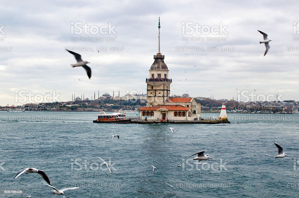 Maidens Tower and seagulls stock photo