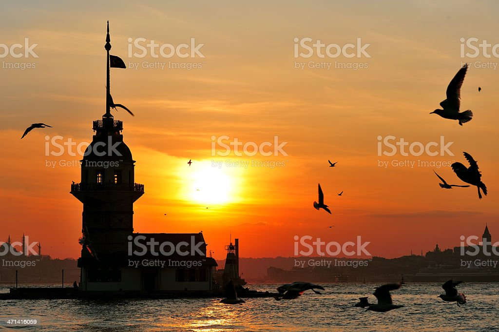 Maidens Tower from Uskudar royalty-free stock photo