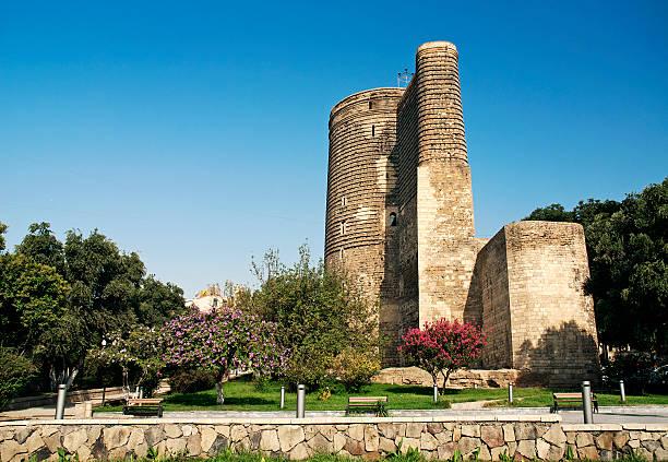 maidens tower in baku azerbaijan stock photo