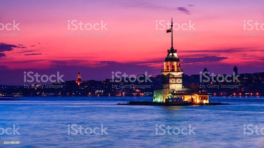 Maidens tower (Kız Kulesi) in Istanbul, Turkey stock photo