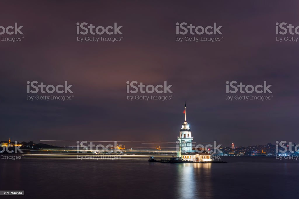 Maiden's Tower in istanbul, Turkey (KIZ KULESI - USKUDAR) stock photo