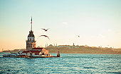 The Maiden's Tower , also known in the ancient Greek and medieval Byzantine periods as Leander's Tower, sits on a small islet located at the southern entrance of Bosphorus strait 200 m off the coast of Uskudar in Istanbul, Turkey.