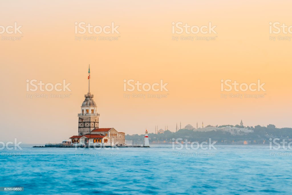 Maiden's tower on the Asian side of Istanbul. stock photo