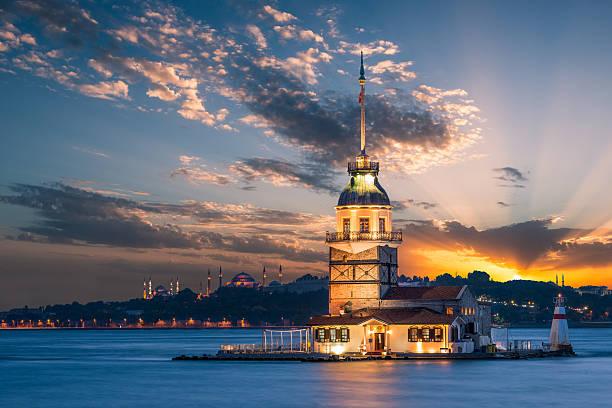 девичья башня - стамбул стоковые фото и изображения