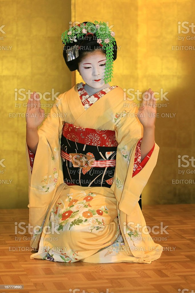 Maiko dance in public stock photo