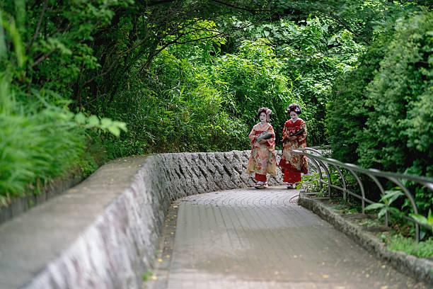 maiko girls walking outdoors wearing kimonos - natürliche make up kurse stock-fotos und bilder